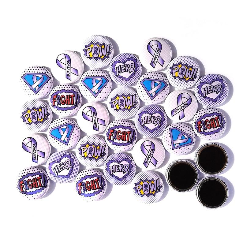 92450fa2438 30 LAVENDER Ribbon Superhero Magnets. All Cancer Awareness   Etsy