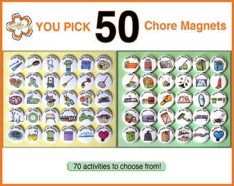 """YOU PICK 50 Chore Magnets. 1"""" Kids Activities To To List. Round Refrigerator Buttons Badges Lot. You Choose Your Own Custom Set."""