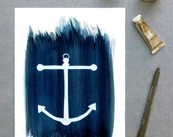 Print of an anchor on a navy watercolour background