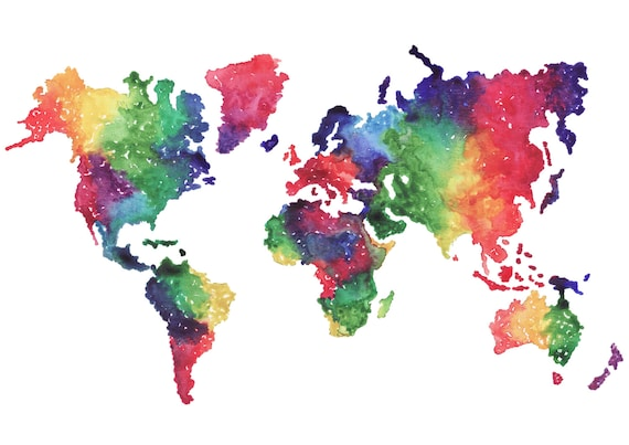 Rainbow World Map Watercolour Print Etsy