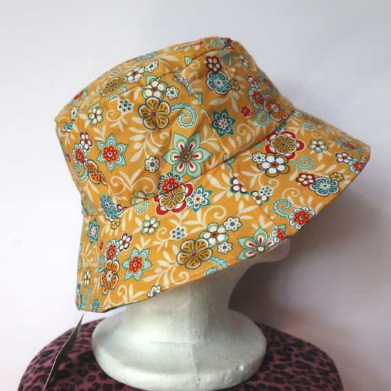 Ladies  Girls sizes avail Retro woodland animal Green Owl Reversible Sun Hat