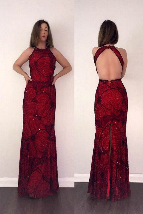 GORGEOUS  Sexy Vtg 80s 90s BEADED Red Floral Swirl