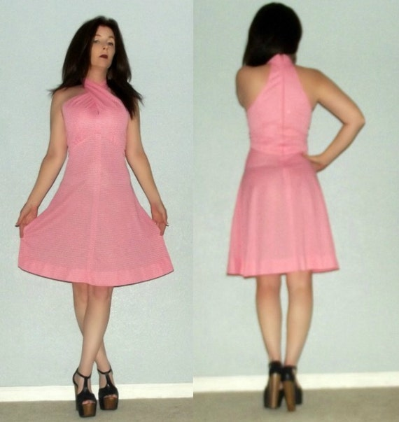839 S Vtg 60s 70s GAY GIBSON Mod Pink Polka Swiss