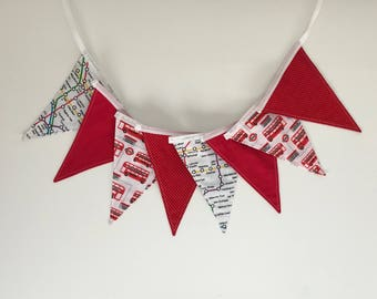 London Double Decker Bus and Underground Travel Bunting - 8 Flags - Handmade Red and White - Baby Nursery Bedroom Birthday Party Home Decor
