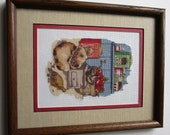 Finished 9 x 11 Cross Stitch Matted Framed Picture Vintage Kitchen Scene