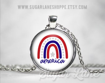 Patriotic Rainbow Necklace - America Necklace - Red, White, Blue, Stars Rainbow - Patriotic Boho Rainbow - Glass Dome Necklace