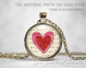 Double Hearts Necklace - Valentine Pendant - Valentine's Day Necklace - Valentine's Day Jewelry - Valentine Necklace - Glass Dome Pendant