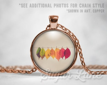 Fall Leaves Necklace - Fall Necklace - Fall Pendant - Round Glass Dome Necklace - Fall Jewelry - Fall Leaves Pendant