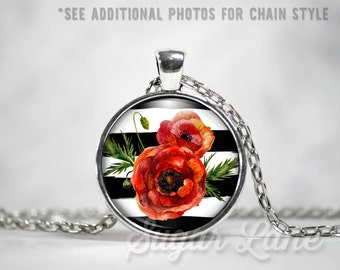 Poppy Necklace - Poppy Mania Necklace (A1) - Glass Dome Necklace - Poppies - Watercolor Poppies Pendant - A1 Poppy Blooms