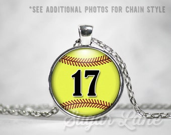 Softball Necklace - Glass Dome Necklace - Custom Softball Pendant - Sports Necklace - Softball Mom - Name or Number