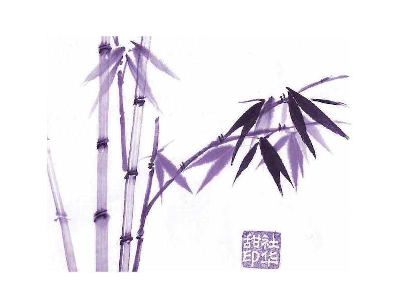 set of 5 Purple Bamboo Notecard