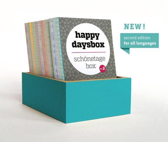 "Perpetual calendar Beautiful Daybox – Vol. 2 ""Happydaysbox""/blue/Beautiful Day box/suitable for all languages/SPERLINGB. Design"
