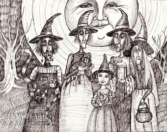 The Witches Ball, a Halloween themed pen and ink print