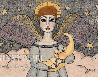 Angel holding moon pen & ink print, She Hung The Moon