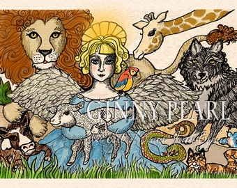 All Creatures, Great & Small, pen and ink and color added angel with animals.