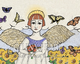 You are My Sunshine, pen and ink of lovely angel standing among the sunflowers