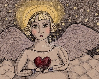 Ginny Pearl, pen and ink print of angel holding a heart