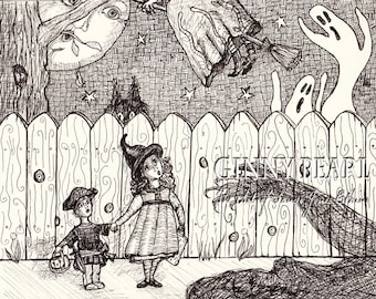 Halloween themed Pen and Ink print, Things that Go Thumpity, Bumpity in the Night