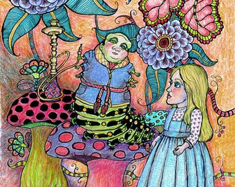Alice Meets the Caterpillar full color print featuring S. Elkins Illustration