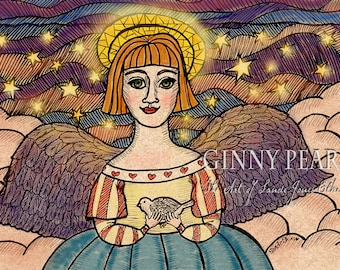 Angel holding a dove, pen & ink print, Spirit of Peace