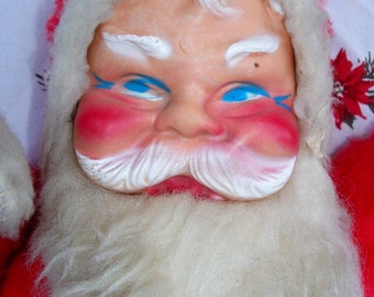 VINTAGE Stuffed SANTA Claus, CHRISTMAS Display/Doll, 1950's Era, Great Face Blue Eyes, Charming!