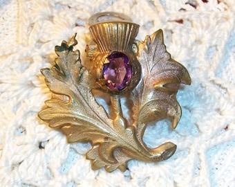 Vintage ART NOUVEAU Fur Clip, Brass Thistle Stamping w/Amethyst Stone, Beautiful Detailed 1920's Era Piece, Gift! Idea-Sale!