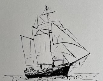 Original ink drawing - Sailboat Black - art