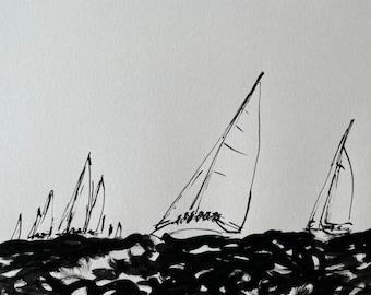 Original ink drawing - Regatta - art