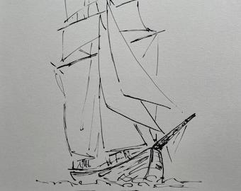 Original ink drawing - Sailboat - art