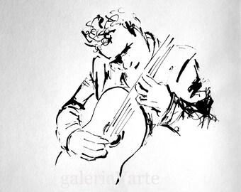 Original ink drawing - Guitar Player