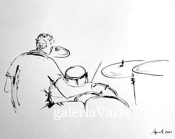 Original ink drawing - Drummer