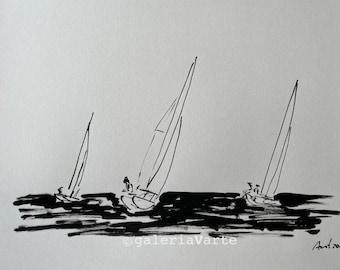 Original ink drawing - Sailing - art