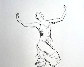 Original ink drawing - Dancer - art