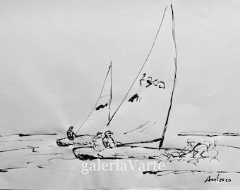 Original ink drawing  - 3 sailors