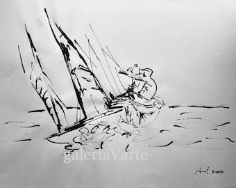 Original ink drawing  - Sailors