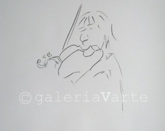 charcoal drawing original - violinist - music - europeanstreetteam