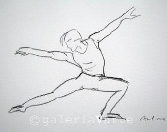 Charcoal drawing - original - modern dance - painting - europeanstreetteam