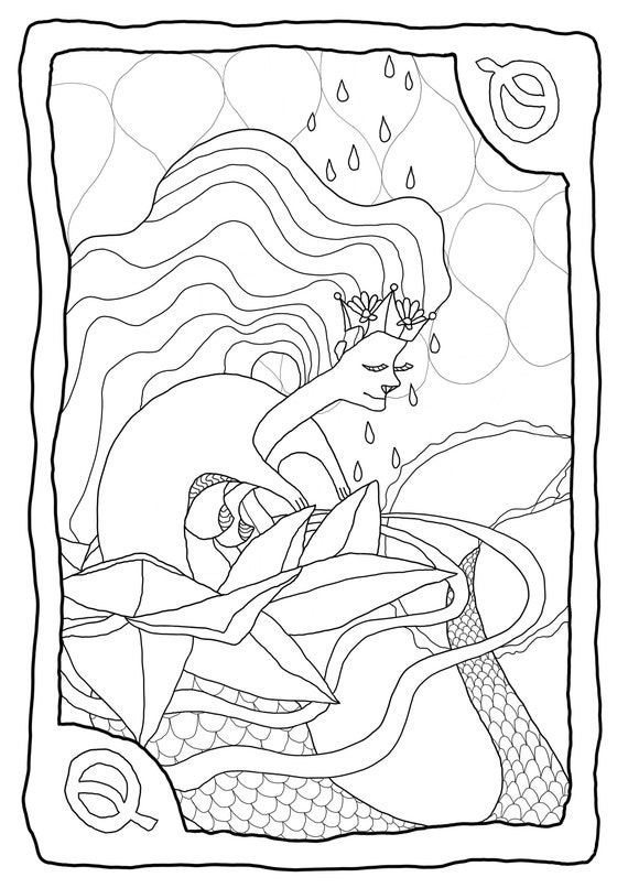 Tarot Adult Coloring Page Queen Of Cups Etsy