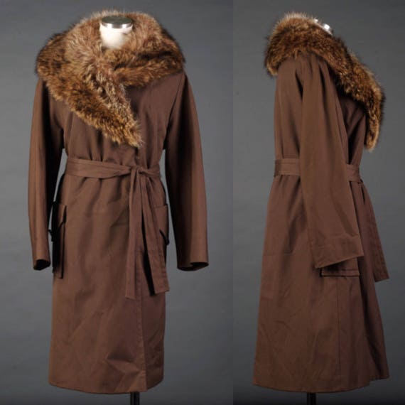 Vintage 1960s chocolate brown fox fur collar, belt