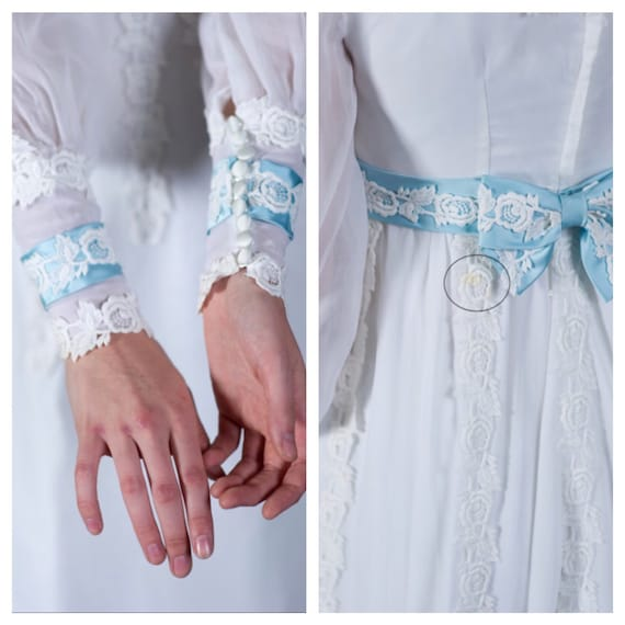 Vtg 1950s wedding dress, bridal gown with blue tr… - image 6