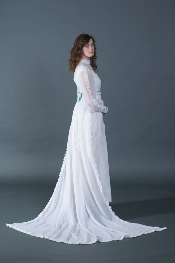 Vtg 1950s wedding dress, bridal gown with blue tr… - image 2