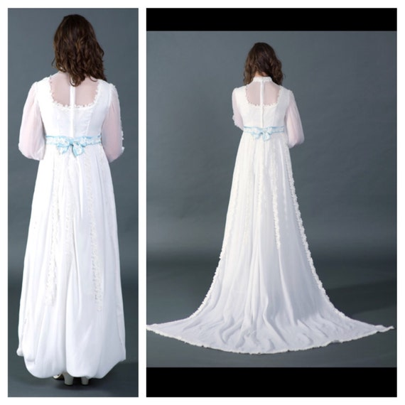 Vtg 1950s wedding dress, bridal gown with blue tr… - image 5