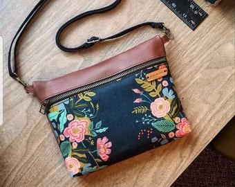 Dark navy crossbody bag, genuine leather shoulder bag, handbag, purse, rifle paper co women's, floral bag, fanny pack, made in usa, belt bag