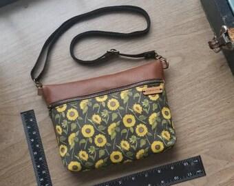 Sunflower crossbody bag, genuine leather purse, handbag, shoulder bag, sunflower bag, fannypack, made in the usa, leather zip bag, belt bag