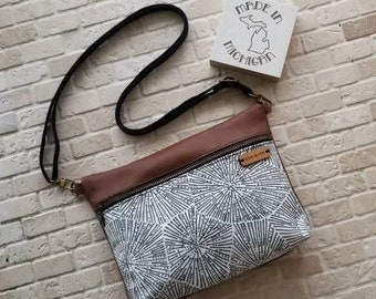 Modern Petoskey crossbody bag, genuine leather crossbody, handbag, purse, shoulder bag, black and white women's, leather bag, fanny pack,