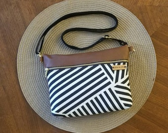 Genuine leather purse, crossbody, canvas and leather handbag, black and white stripe bag, shoulder bag, Christmas gift, made in the usa