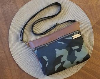 Camouflage crossbody bag, genuine leather camo purse, handbag, shoulder bag ,fanny pack, handmade in the USA, leather zip bag
