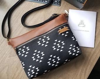 leather crossbody, aztec purse, black handbag, shoulder bag, fannypack, southwest tribal, genuine leather, made in the usa, leather zip bag
