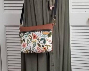 leather crossbody, light tan purse, handbag, purse, wildflowers, shoulder bag, rifle  paper co women's purse , fannypack, dark brown leather