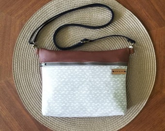 Modern neutral crossbody bag, genuine leather crossbody, handbag, purse, shoulder bag, gray, greige, women's, leather bag, fanny pack,
